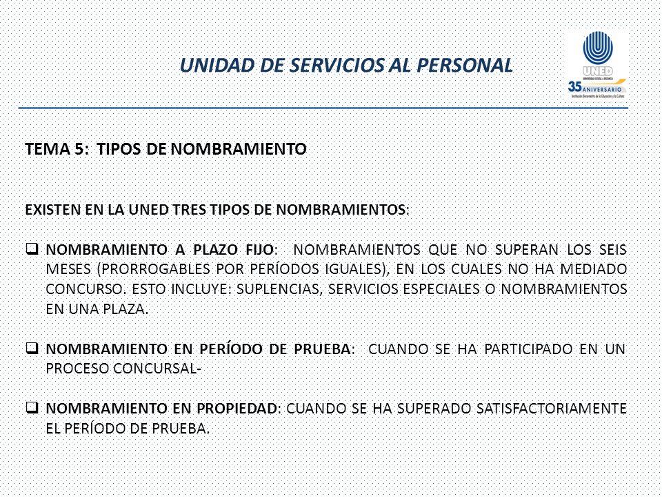 UNIDAD DE SERVICIOS AL PERSONAL TEMA 5: TIPOS DE NOMBRAMIENTO EXISTEN EN LA UNED TRES TIPOS DE NOMBRAMIENTOS: NOMBRAMIENTO A PLAZO FIJO: NOMBRAMIENTOS QUE NO SUPERAN LOS SEIS MESES (PRORROGABLES POR PERÍODOS IGUALES), EN LOS CUALES NO HA MEDIADO CONCURSO.