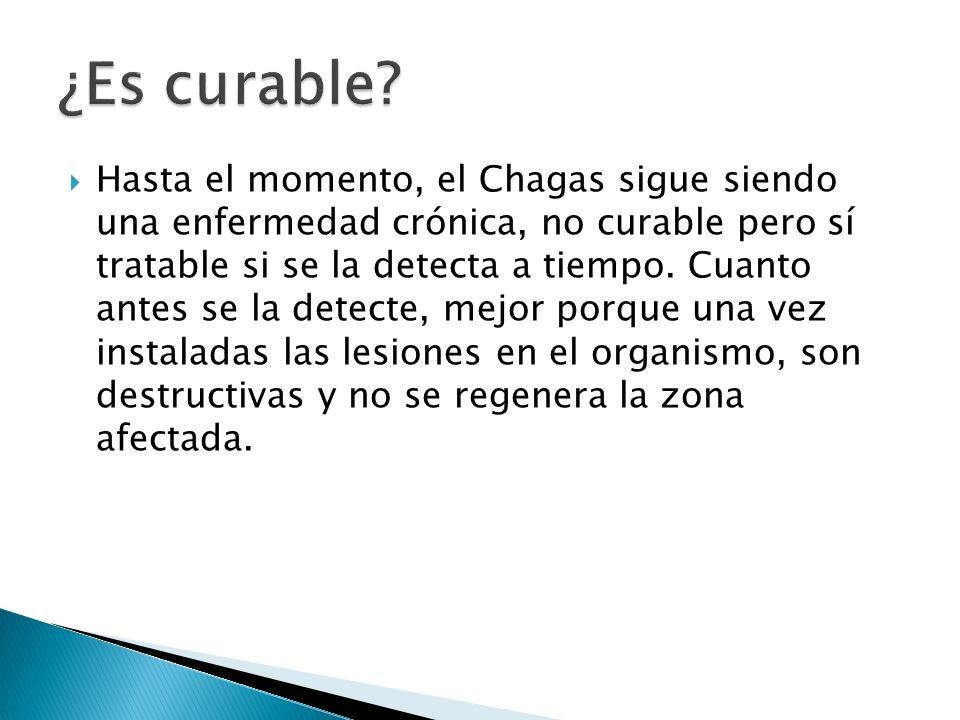 Hasta el momento, el Chagas sigue siendo una enfermedad crónica, no curable pero sí tratable si se la detecta a tiempo. Cuanto antes se la detecte, me