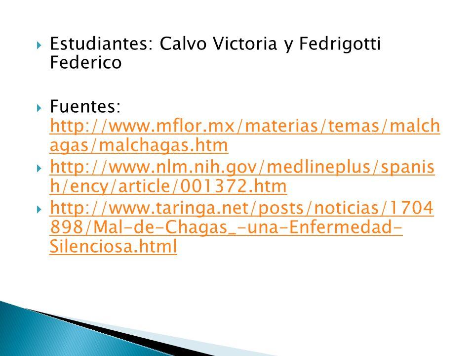 Estudiantes: Calvo Victoria y Fedrigotti Federico Fuentes: http://www.mflor.mx/materias/temas/malch agas/malchagas.htm http://www.mflor.mx/materias/te