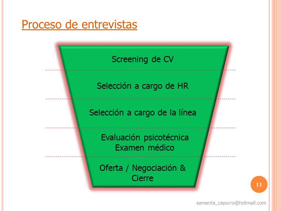 11 samanta_capurro@hotmail.com Proceso de entrevistas Screening de CV Selección a cargo de HR Selección a cargo de la línea Oferta / Negociación & Cie