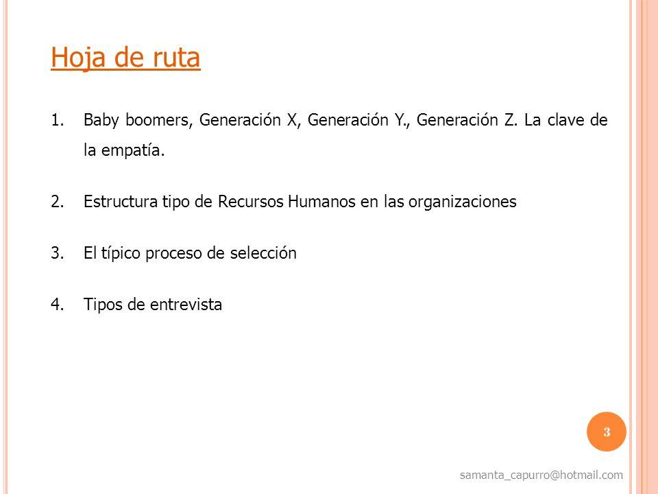 4 samanta_capurro@hotmail.com Baby boomers, Generación X, Y, Z La difícil tarea de ponerse en el lugar del otro Baby boomers (1943 / 1965) Generación X (1966 / 1979) Generación Y Eco Boomers (1980 / 1993) Generación Z Digital (1994 / 2004)