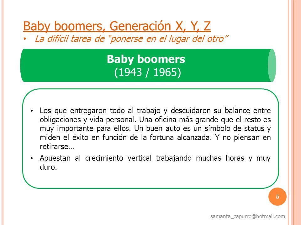 5 samanta_capurro@hotmail.com Baby boomers, Generación X, Y, Z La difícil tarea de ponerse en el lugar del otro Baby boomers (1943 / 1965) Los que ent