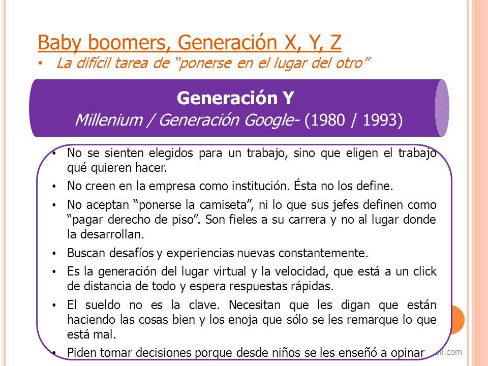 7 samanta_capurro@hotmail.com Baby boomers, Generación X, Y, Z La difícil tarea de ponerse en el lugar del otro Generación Y Millenium / Generación Go