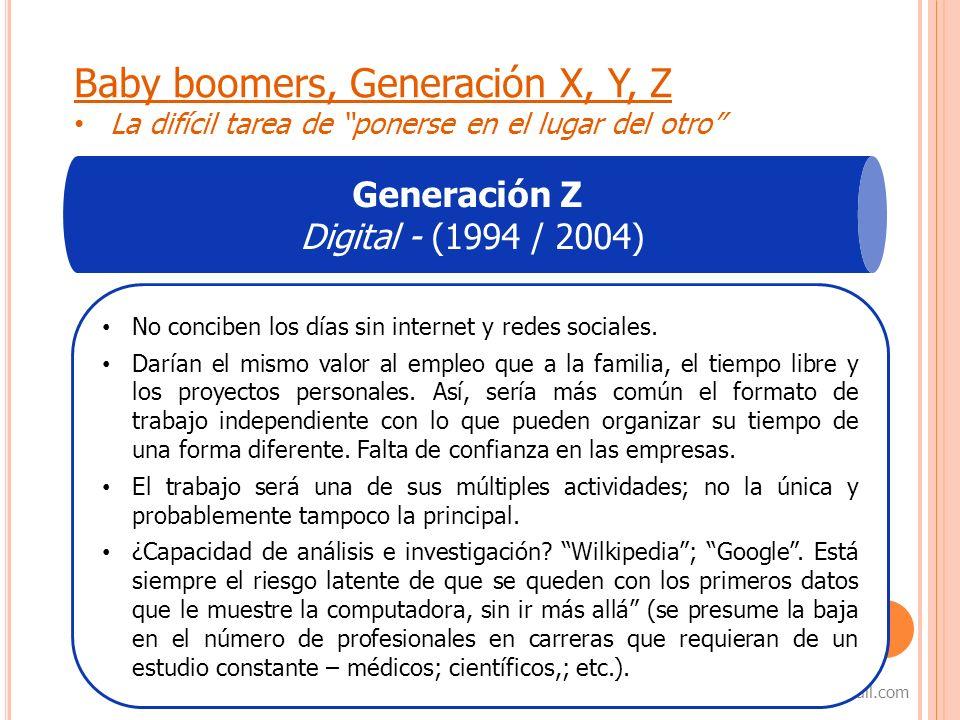 8 samanta_capurro@hotmail.com Baby boomers, Generación X, Y, Z La difícil tarea de ponerse en el lugar del otro Generación Z Digital - (1994 / 2004) N
