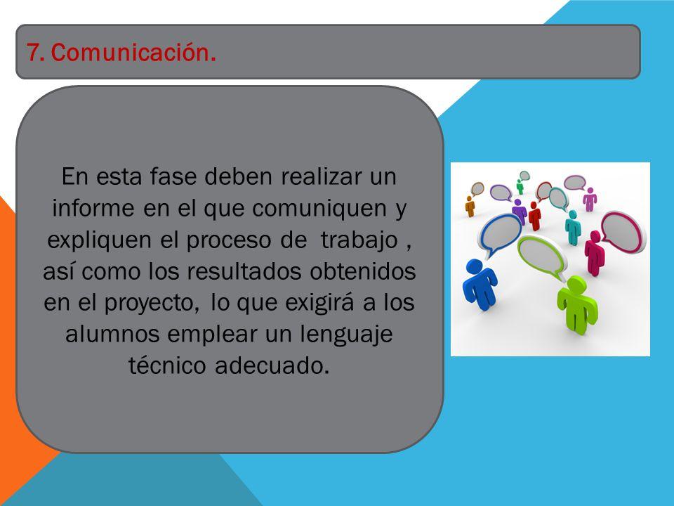En esta fase deben realizar un informe en el que comuniquen y expliquen el proceso de trabajo, así como los resultados obtenidos en el proyecto, lo qu