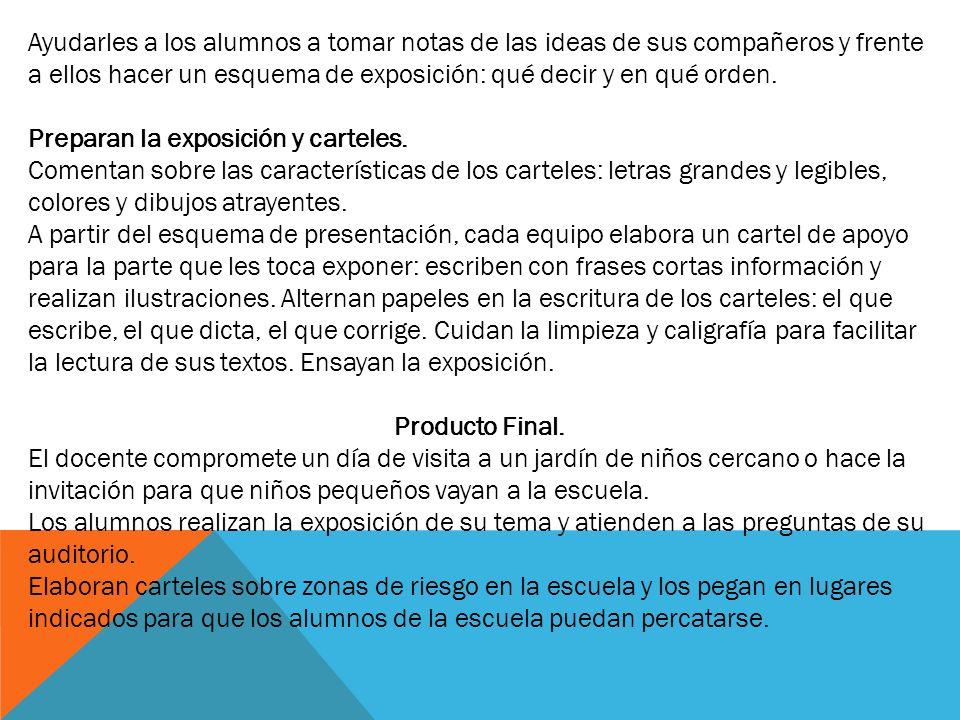 Ayudarles a los alumnos a tomar notas de las ideas de sus compañeros y frente a ellos hacer un esquema de exposición: qué decir y en qué orden. Prepar