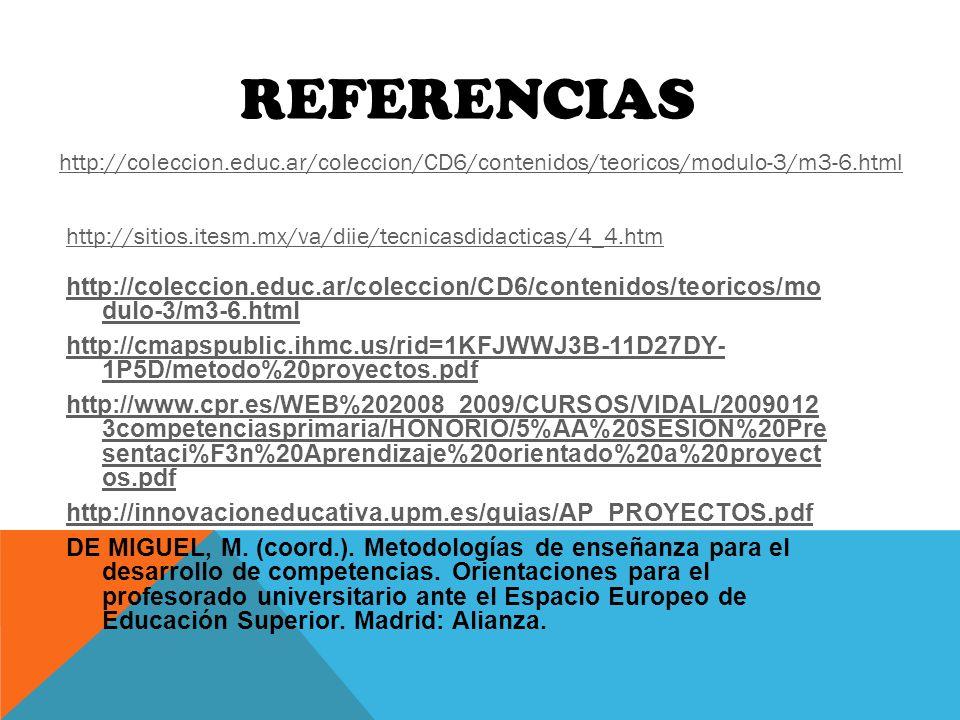 REFERENCIAS http://coleccion.educ.ar/coleccion/CD6/contenidos/teoricos/modulo-3/m3-6.html http://sitios.itesm.mx/va/diie/tecnicasdidacticas/4_4.htm ht
