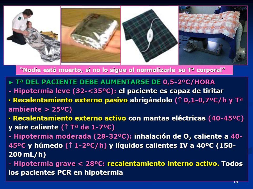 16 Tª DEL PACIENTE DEBE AUMENTARSE DE 0,5-2ºC/HORA Tª DEL PACIENTE DEBE AUMENTARSE DE 0,5-2ºC/HORA - Hipotermia leve (32-<35ºC): el paciente es capaz