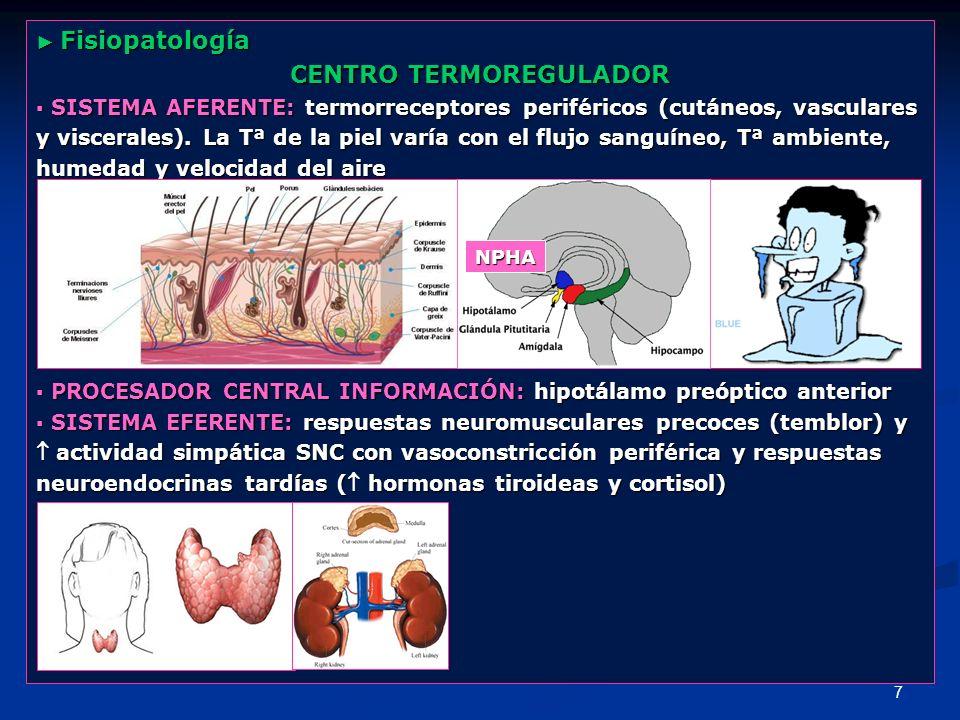 7 Fisiopatología Fisiopatología CENTRO TERMOREGULADOR SISTEMA AFERENTE: termorreceptores periféricos (cutáneos, vasculares SISTEMA AFERENTE: termorrec