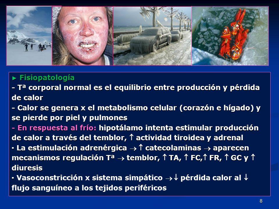 8 Fisiopatología Fisiopatología - Tª corporal normal es el equilibrio entre producción y pérdida de calor - Calor se genera x el metabolismo celular (