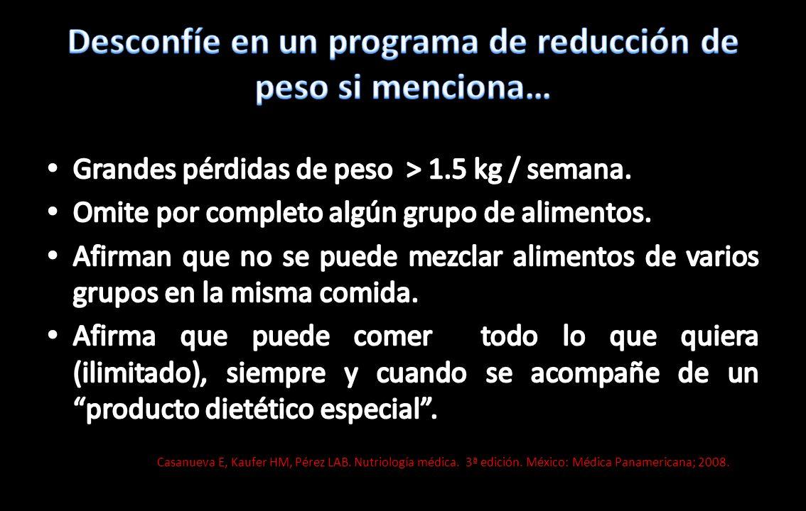 Casanueva E, Kaufer HM, Pérez LAB. Nutriología médica. 3ª edición. México: Médica Panamericana; 2008.