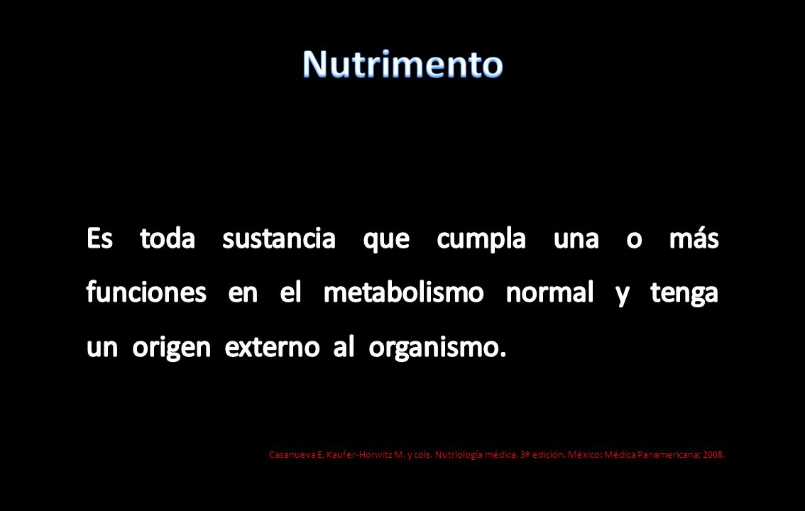 Nutrimento Nutrimentos Promueven el crecimiento y el desarrollo Regulan el metabolismo Proporcionan energía