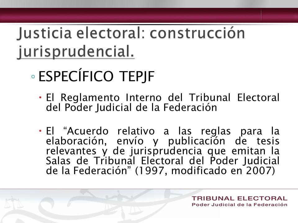 ESPECÍFICO TEPJF El Reglamento Interno del Tribunal Electoral del Poder Judicial de la Federación El Acuerdo relativo a las reglas para la elaboración