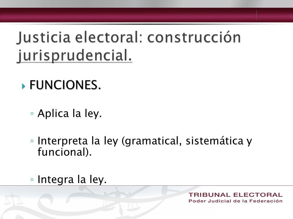 FUNCIONES. FUNCIONES. Aplica la ley. Interpreta la ley (gramatical, sistemática y funcional). Integra la ley.