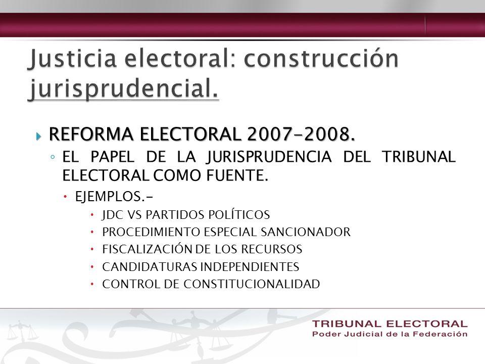 REFORMA ELECTORAL 2007-2008. REFORMA ELECTORAL 2007-2008. EL PAPEL DE LA JURISPRUDENCIA DEL TRIBUNAL ELECTORAL COMO FUENTE. EJEMPLOS.- JDC VS PARTIDOS