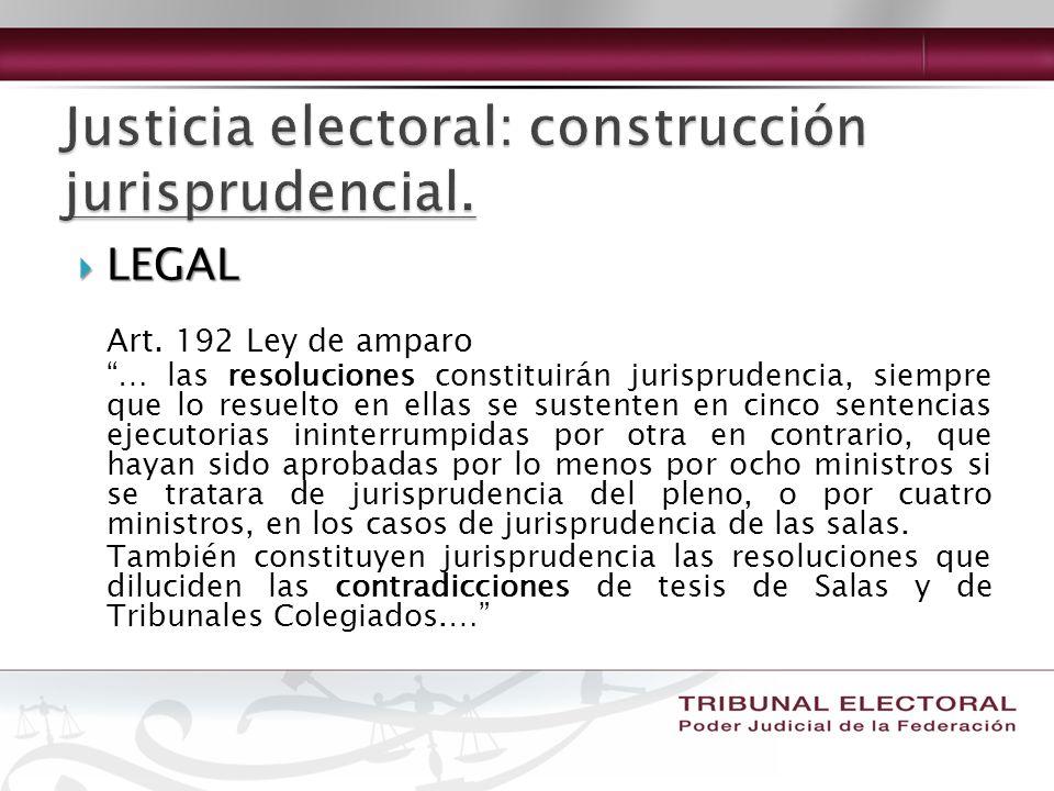 LEGAL LEGAL Art. 192 Ley de amparo … las resoluciones constituirán jurisprudencia, siempre que lo resuelto en ellas se sustenten en cinco sentencias e