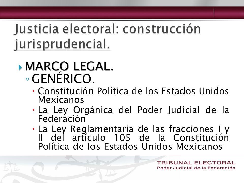 MARCO LEGAL. MARCO LEGAL. GENÉRICO. Constitución Política de los Estados Unidos Mexicanos La Ley Orgánica del Poder Judicial de la Federación La Ley R
