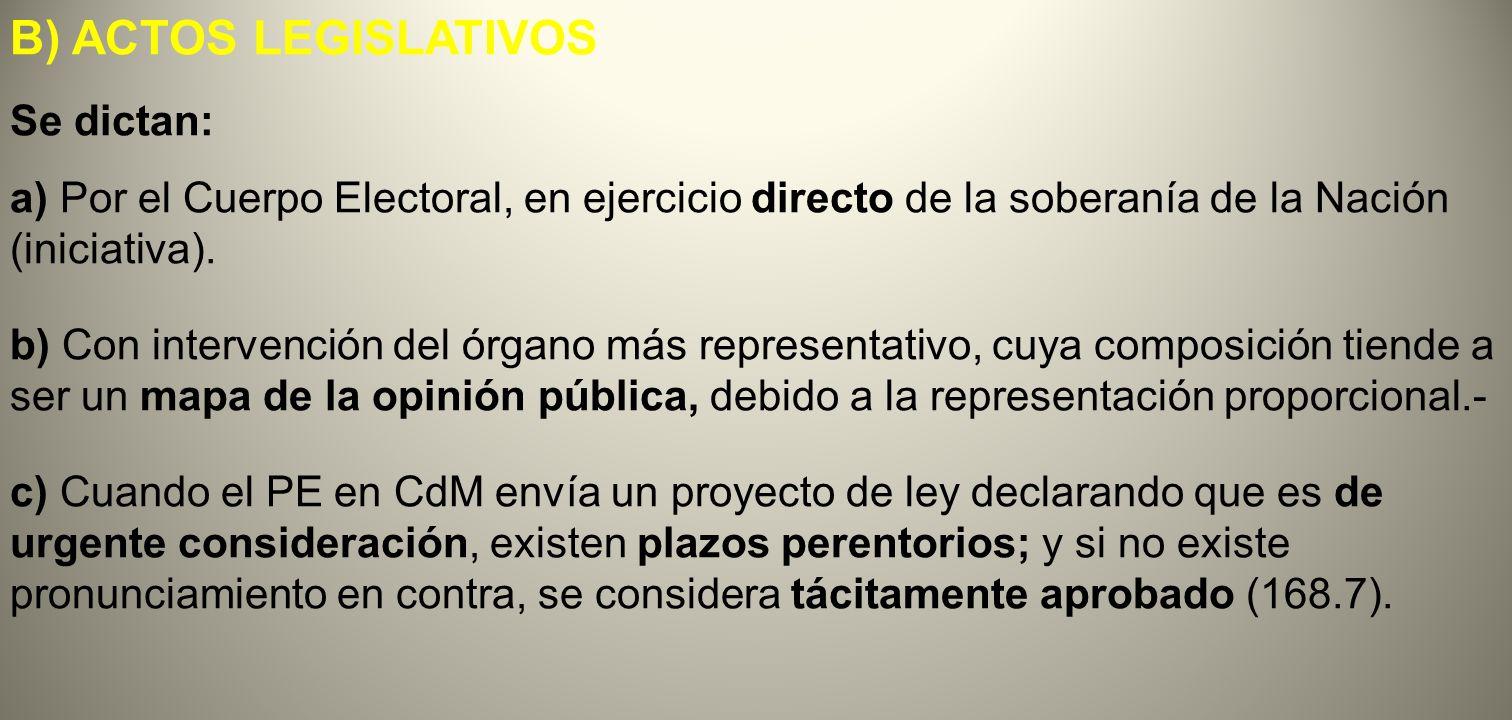B) ACTOS LEGISLATIVOS Se dictan: a) Por el Cuerpo Electoral, en ejercicio directo de la soberanía de la Nación (iniciativa). b) Con intervención del ó