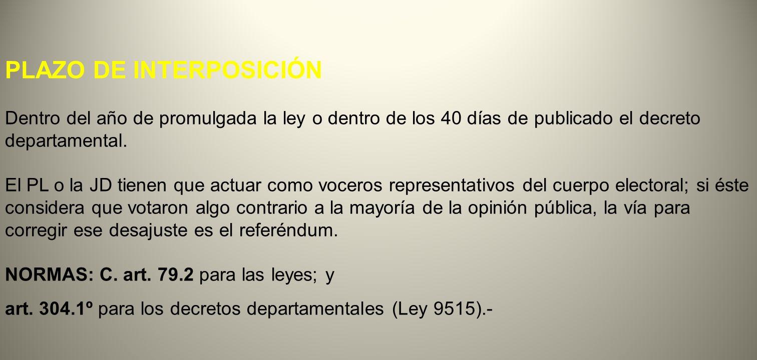 PLAZO DE INTERPOSICIÓN Dentro del año de promulgada la ley o dentro de los 40 días de publicado el decreto departamental. El PL o la JD tienen que act