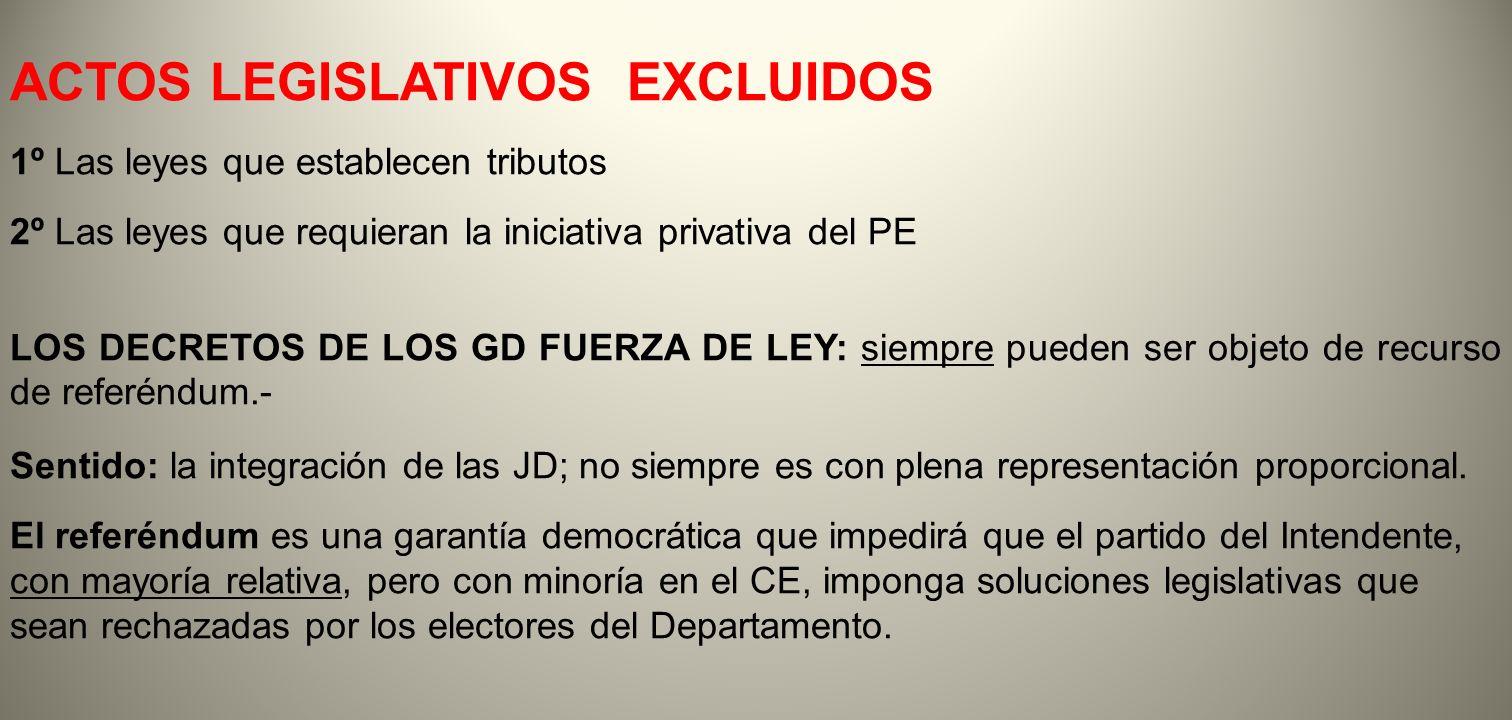 ACTOS LEGISLATIVOS EXCLUIDOS 1º Las leyes que establecen tributos 2º Las leyes que requieran la iniciativa privativa del PE LOS DECRETOS DE LOS GD FUE