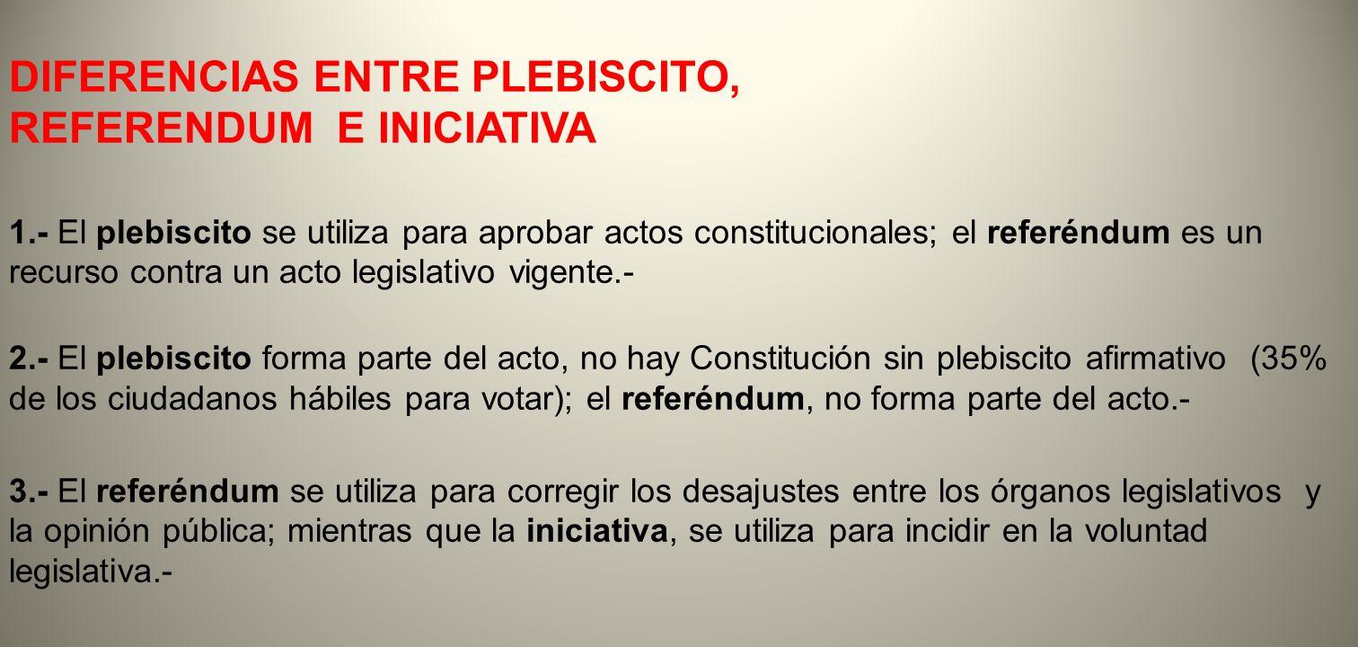 DIFERENCIAS ENTRE PLEBISCITO, REFERENDUM E INICIATIVA 1.- El plebiscito se utiliza para aprobar actos constitucionales; el referéndum es un recurso co