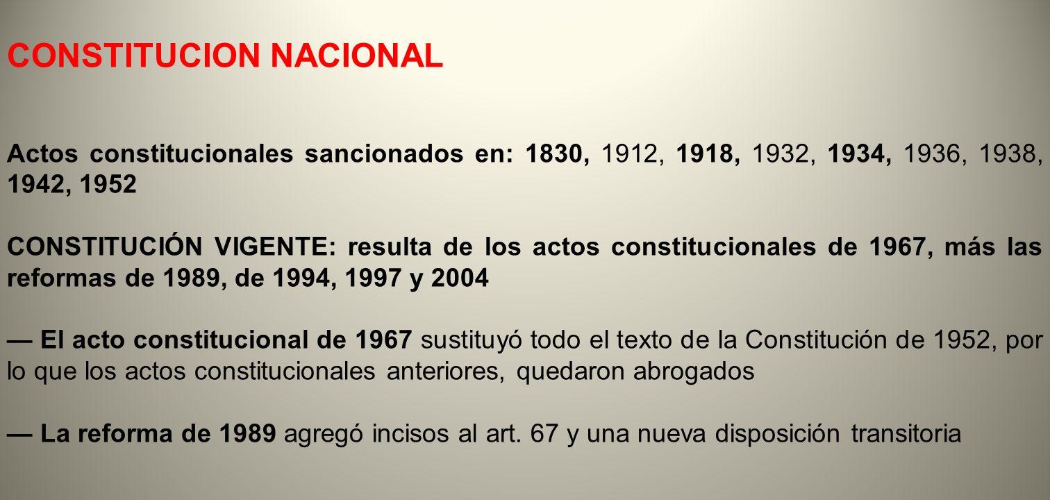 CONSTITUCION NACIONAL Actos constitucionales sancionados en: 1830, 1912, 1918, 1932, 1934, 1936, 1938, 1942, 1952 CONSTITUCIÓN VIGENTE: resulta de los