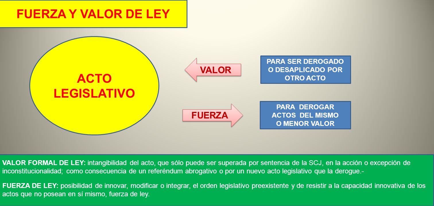 ACTO LEGISLATIVO FUERZA Y VALOR DE LEY VALOR PARA SER DEROGADO O DESAPLICADO POR OTRO ACTO VALOR FORMAL DE LEY: intangibilidad del acto, que sólo pued