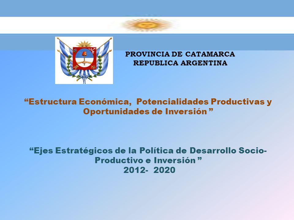 PROVINCIA DE CATAMARCA REPUBLICA ARGENTINA Estructura Económica, Potencialidades Productivas y Oportunidades de Inversión Ejes Estratégicos de la Polí