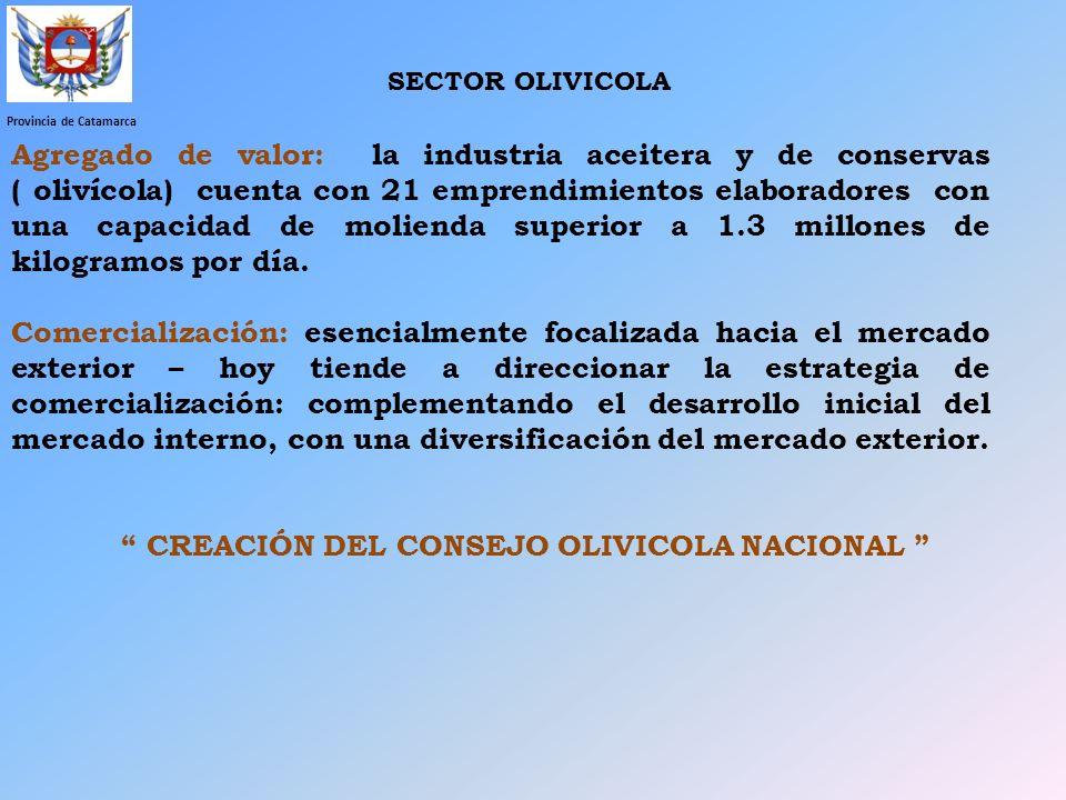 Provincia de Catamarca Agregado de valor: la industria aceitera y de conservas ( olivícola) cuenta con 21 emprendimientos elaboradores con una capacid