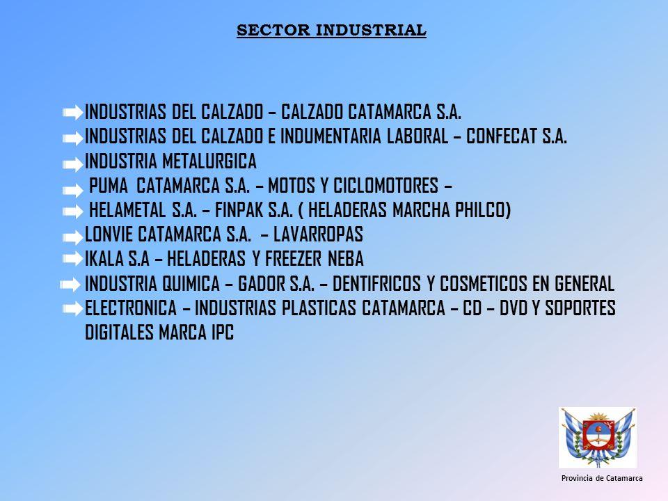 SECTOR INDUSTRIAL INDUSTRIAS DEL CALZADO – CALZADO CATAMARCA S.A. INDUSTRIAS DEL CALZADO E INDUMENTARIA LABORAL – CONFECAT S.A. INDUSTRIA METALURGICA