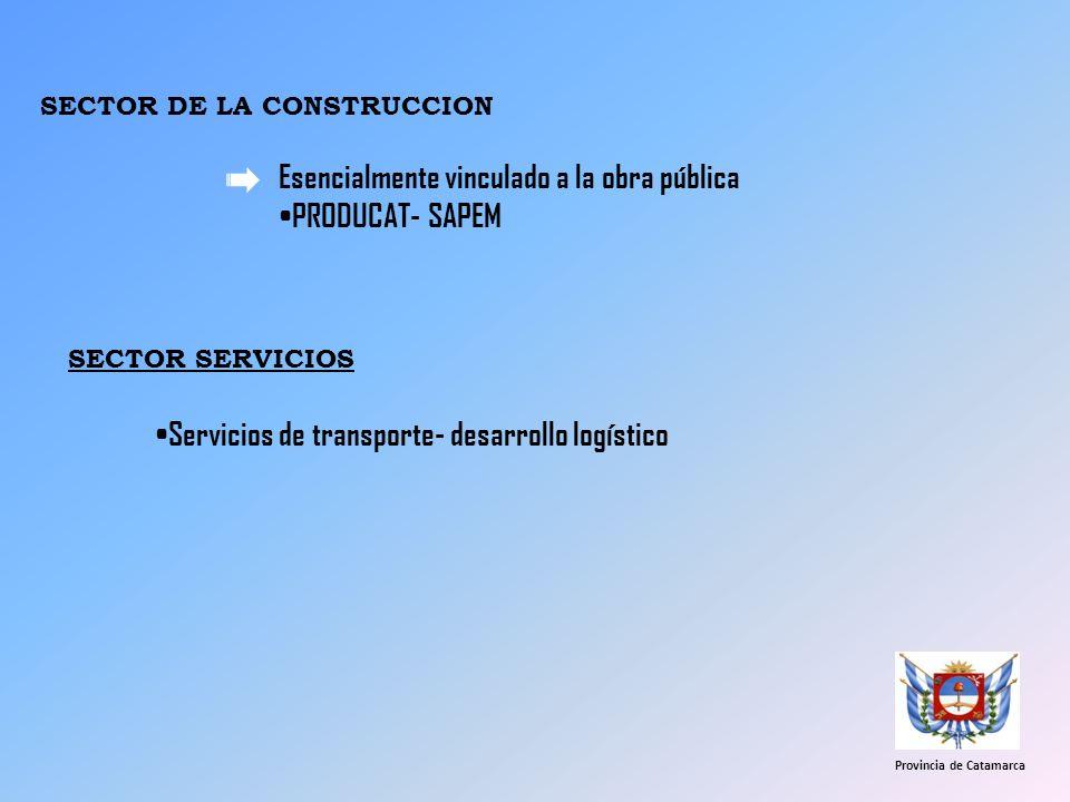 SECTOR DE LA CONSTRUCCION Esencialmente vinculado a la obra pública PRODUCAT- SAPEM Provincia de Catamarca Servicios de transporte- desarrollo logísti