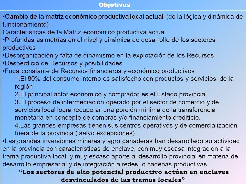 Cambio de la matriz económico productiva local actual (de la lógica y dinámica de funcionamiento) Características de la Matriz económico productiva ac