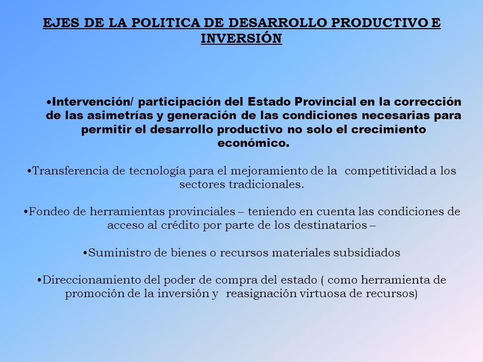 EJES DE LA POLITICA DE DESARROLLO PRODUCTIVO E INVERSIÓN Intervención/ participación del Estado Provincial en la corrección de las asimetrías y genera