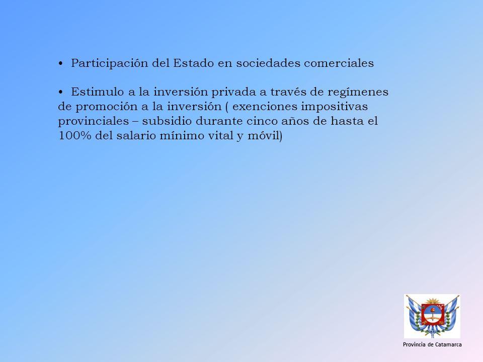 Participación del Estado en sociedades comerciales Estimulo a la inversión privada a través de regímenes de promoción a la inversión ( exenciones impo