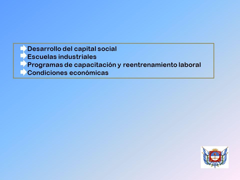 Desarrollo del capital social Escuelas industriales Programas de capacitación y reentrenamiento laboral Condiciones económicas