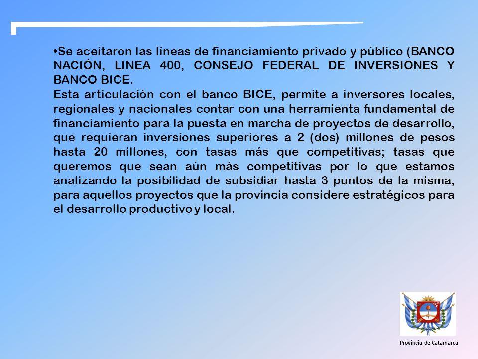 Se aceitaron las líneas de financiamiento privado y público (BANCO NACIÓN, LINEA 400, CONSEJO FEDERAL DE INVERSIONES Y BANCO BICE. Esta articulación c