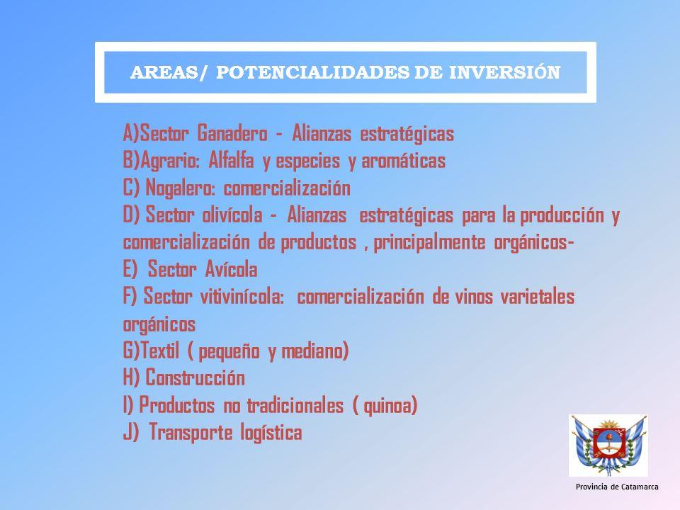 AREAS/ POTENCIALIDADES DE INVERSI Ó N A)Sector Ganadero - Alianzas estratégicas B)Agrario: Alfalfa y especies y aromáticas C) Nogalero: comercializaci