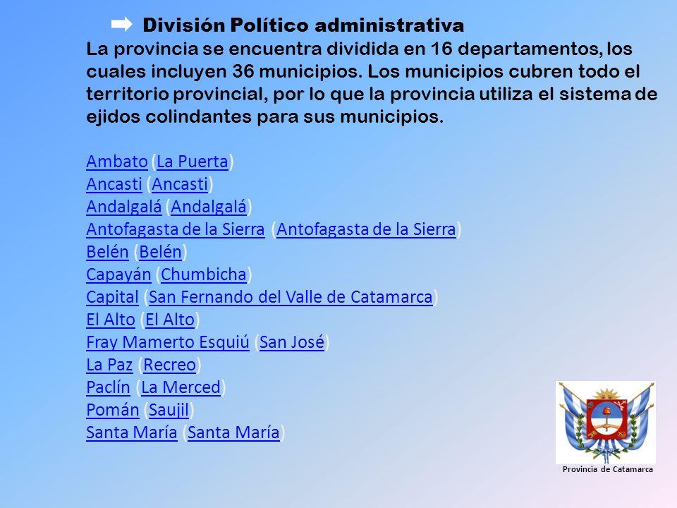 División Político administrativa La provincia se encuentra dividida en 16 departamentos, los cuales incluyen 36 municipios. Los municipios cubren todo