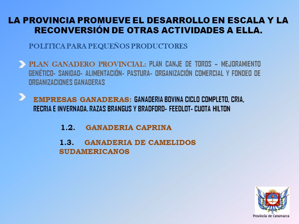 LA PROVINCIA PROMUEVE EL DESARROLLO EN ESCALA Y LA RECONVERSIÓN DE OTRAS ACTIVIDADES A ELLA. POLITICA PARA PEQUEÑOS PRODUCTORES PLAN GANADERO PROVINCI