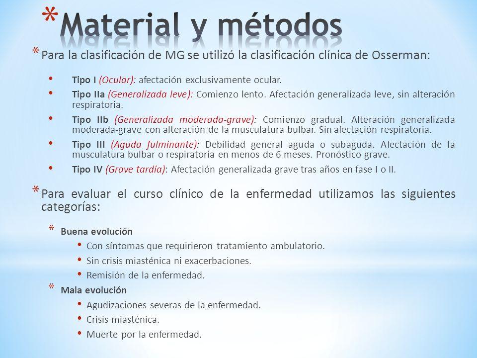 Criterios de inclusión Criterios de inclusión: * Pacientes mayores de 15 años, con diagnóstico clínico de MG que se encontraban en seguimiento por el servicio de Neurología del Hospital San Martín y la Fundación Burry de la ciudad de La Plata en el período comprendido entre junio de 2004 y julio de 2012.