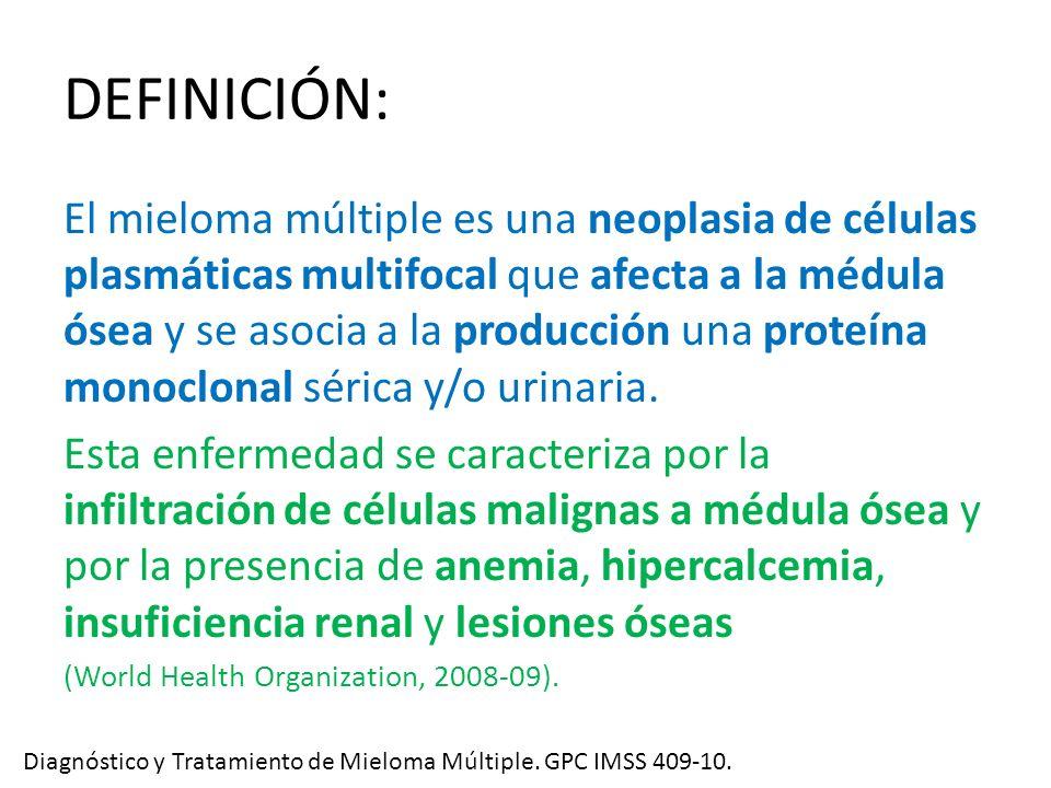 DEFINICIÓN: El mieloma múltiple es una neoplasia de células plasmáticas multifocal que afecta a la médula ósea y se asocia a la producción una proteín
