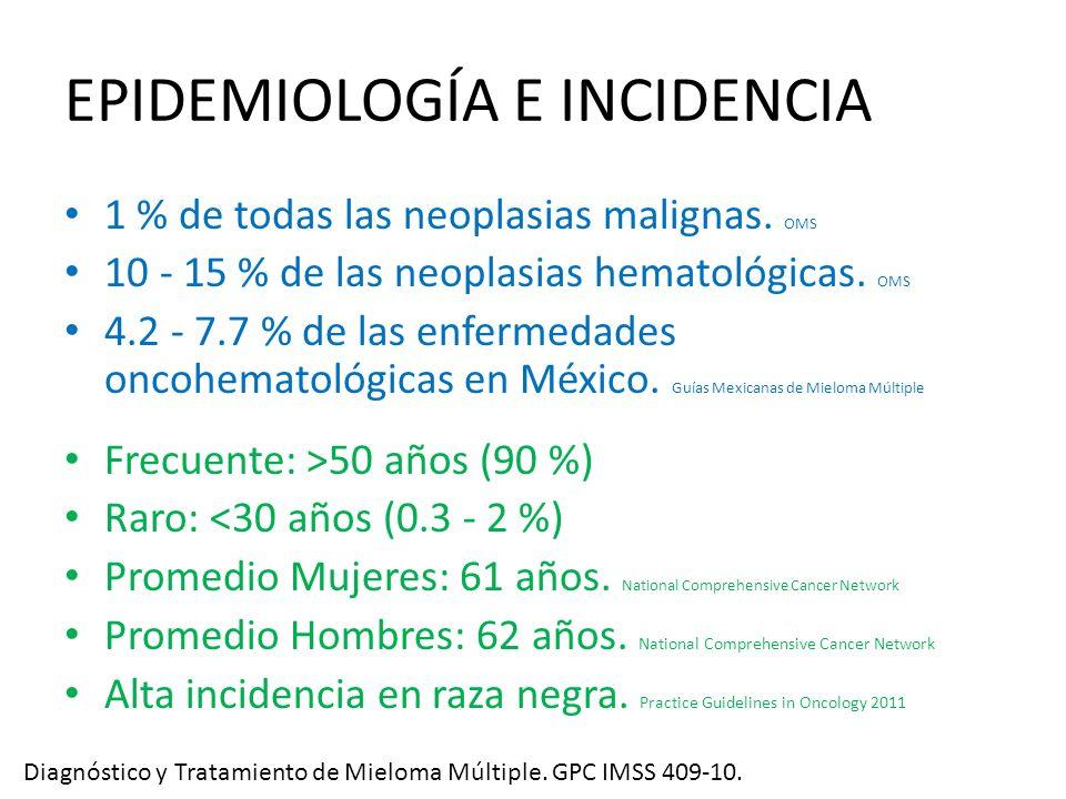 EPIDEMIOLOGÍA E INCIDENCIA 1 % de todas las neoplasias malignas. OMS 10 - 15 % de las neoplasias hematológicas. OMS 4.2 - 7.7 % de las enfermedades on