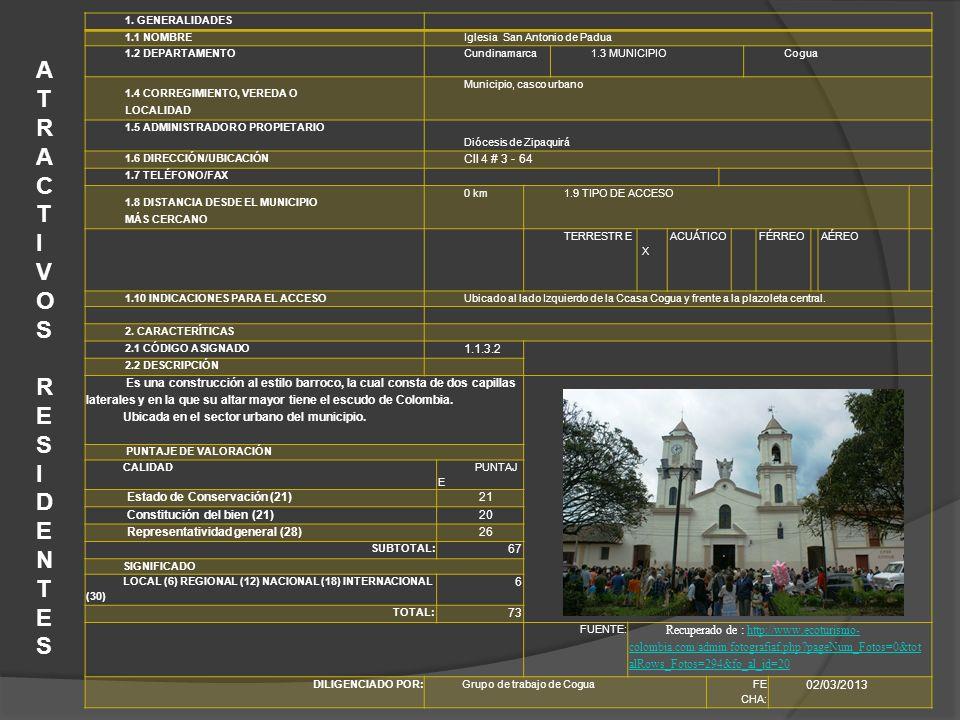 1. GENERALIDADES 1.1 NOMBREIglesia San Antonio de Padua 1.2 DEPARTAMENTOCundinamarca1.3 MUNICIPIOCogua 1.4 CORREGIMIENTO, VEREDA O LOCALIDAD Municipio