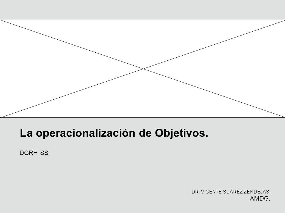 La operacionalización de Objetivos. DR. VICENTE SUÁREZ ZENDEJAS. AMDG. DGRH SS
