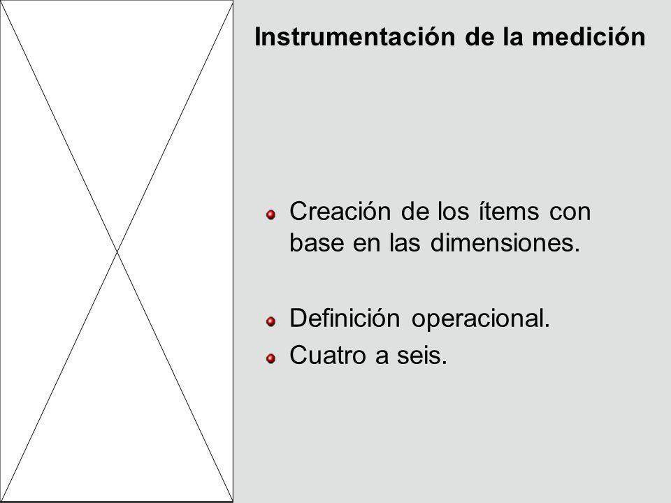 Instrumentación de la medición Creación de los ítems con base en las dimensiones. Definición operacional. Cuatro a seis.