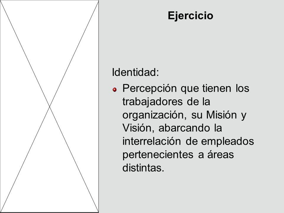 Identidad: Percepción que tienen los trabajadores de la organización, su Misión y Visión, abarcando la interrelación de empleados pertenecientes a áre