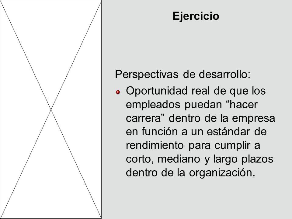 Ejercicio Perspectivas de desarrollo: Oportunidad real de que los empleados puedan hacer carrera dentro de la empresa en función a un estándar de rend