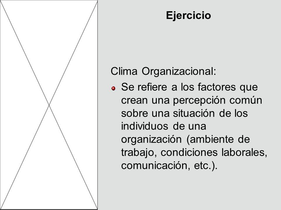 Ejercicio Clima Organizacional: Se refiere a los factores que crean una percepción común sobre una situación de los individuos de una organización (am