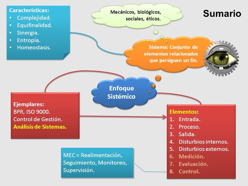Sumario Enfoque Sistémico Sistema: Conjunto de elementos relacionados que persiguen un fin. Mecánicos, biológicos, sociales, éticos. Características: