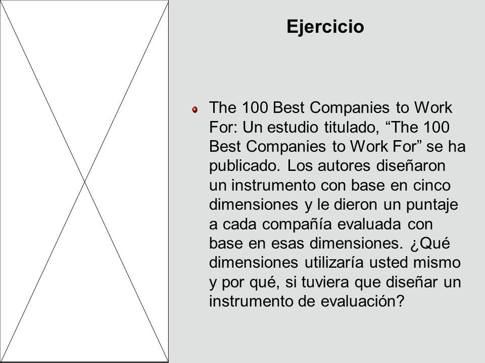 Ejercicio The 100 Best Companies to Work For: Un estudio titulado, The 100 Best Companies to Work For se ha publicado. Los autores diseñaron un instru